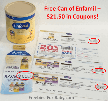 Free can of Enfamil formula, $21.50 in coupons, plus more Enfamil free gifts!