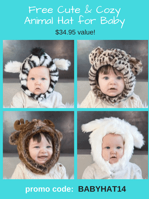 Free Baby Animal Hat ($34.95 value).  Adult sizes available too! Use code: BABYHAT14 at checkout.