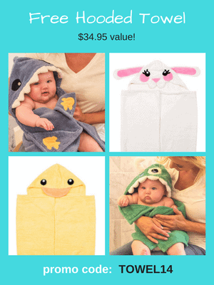 Free Hooded Towel - $35 value! Use code: TOWEL14 at checkout.