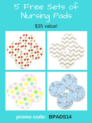 10 Free Nursing Pads - washable and reusable. Use code: BPADS14 at checkout to get a $35 credit.