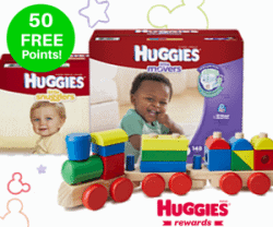 Get 50 FREE Huggies Rewards points + Huggies Samples and Coupons